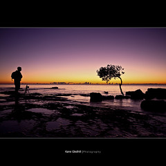 Tables turned; The tree intently studied the form of the Photographer. ([ Kane ]) Tags: ocean sea people sun tree water matt dawn rocks alone australia brisbane qld queensland kane gledhill kanegledhill kanegledhillphotography