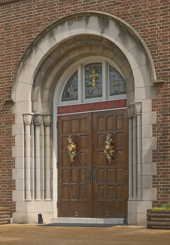 Immaculate Conception Roman Catholic Church, in Maplewood, Missouri, USA - front door