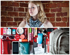 Anessa Diptych (J Trav) Tags: portrait sunglasses keys persona diptych wallet makeup purse pouch sharpie whatsinyourbag pens bottleopener iphone notecards handsanitizer listerinestrips theitemswecarry
