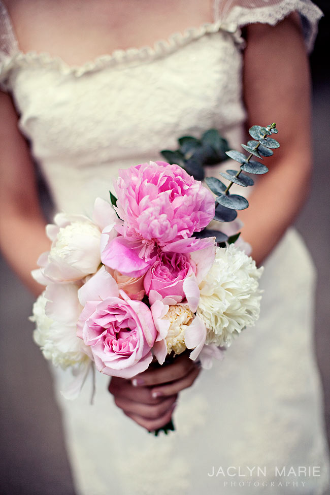 wedding bouquet with pink peonies