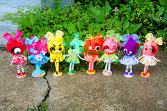 Little Grrs (boopsie.daisy) Tags: color cute colors monster balloons toy crazy rainbow furry funny colorful candy fuzzy handmade ooak stripes balloon siamese cyclops polka bow babydoll monsters dots roar bows quirky rar cutesie cutesy 2headed boopsiedaisy