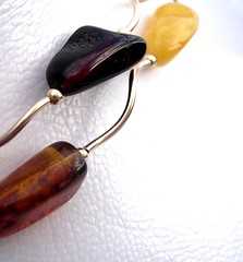 A necklace featuring different colours of amber