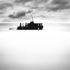 Wreck (Khaled A.K) Tags: sea blackandwhite bw seascape silhouette clouds milk ship sa jeddah saudiarabia khaled bnw ksa yanbu saudia jiddah kashkari