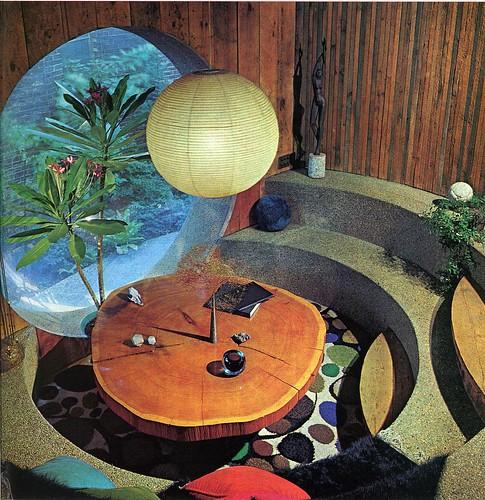 Circular sunken dining room, 1970s