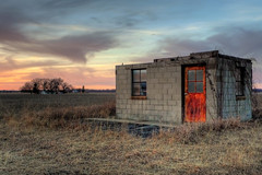 Red Door at Sunset (DrMarciana) Tags: sunset abandoned lawrence rusty kansas hdr mywinners douglascountykansas leicadlux4 kansas150