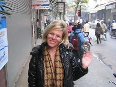 Cindy saying goodbye - Hanoi