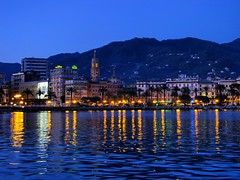 Rapallo by night (klausthebest) Tags: blue sea sky italy panorama seascape night italia cityscape rapallo liguria italians electricblue blueribbonwinner beautysecret topshots nocturnalview abigfave worldbest visiongroup holidaysvacanzeurlaub theunforgettablepictures theperfectphotographer multimegashot qualitypixels oraclex goldenart