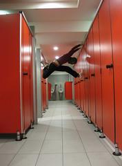 Sortite in autogrill (bellimarco) Tags: red canon bathroom ixus uomo parma bagno rosso autogrill atleta passamontagna situazionismo sortite