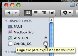Captura de pantalla de Mac OS X expulsando un pendrive debidamente