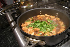 chicken adobo simmering