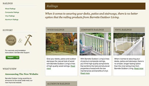 Barrette Outdoor Living railings page