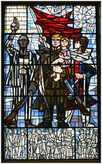 Soviet liberation stained glass in Sachsenhausen Camp - Germany (Jaafar Mestari) Tags: camp berlin glass germany soldier death concentration gun nazi wwii ss free stained soviet militia 1945 liberation allemagne 2009 prisoner coldwar extermination canonef28mmf18usm canoneos50d