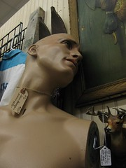 manly man without hands (mereshadow) Tags: man mannequin animals vintage dead manly trophies prices antiquestore pricetags greenvilleillinois skiis 3rdstmarket