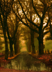 ~~ a place to reflect ~~ (xandram) Tags: road trees light cemetery photoshop reflections swamp distillery theunforgettablepictures proudshopper goldstaraward altrafotographia miasbest obramaestra