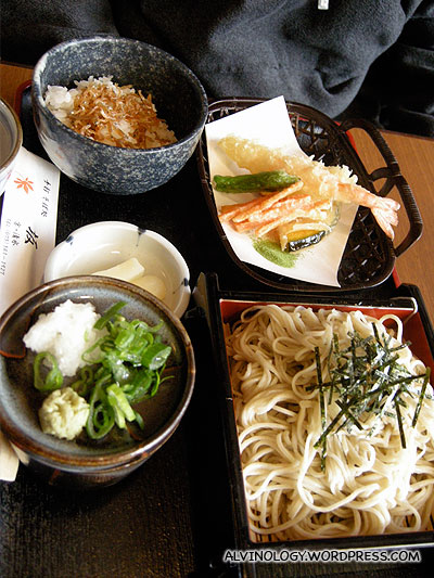 My lunch set  with udon and rice
