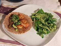 Shrimp Taco with Guacamole and Onion/Japaleno Topping with Mixed Greens with Avocado Dressing