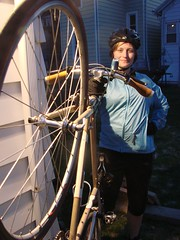 Becky Tesch commutes daily between her Bay View home and the Milwaukee Public Museum, riding her single-speed Salsa Casseroll Triple bicycle. —photo Michael Timm