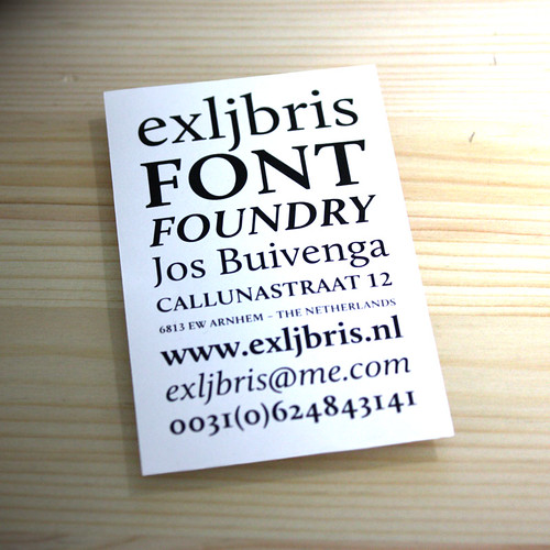 exljbris type foundry business card
