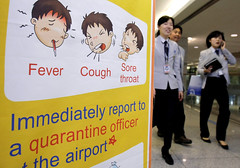 Swine flu sign at Seoul Airport (AP Photo/Lee Jin-man, Pool)