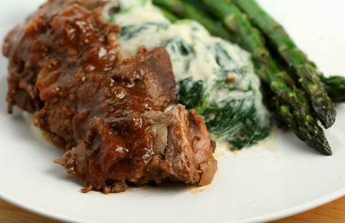 Red Wine Braised Beef & Sunchoke Creamed Spinach