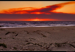 Smokin' Sunset (Elemental Photographer) Tags: ocean california sunset seagulls beach water birds santabarbara canon fire sand smoke dunes smoky waver jesusita xti tamron1750 the4elements