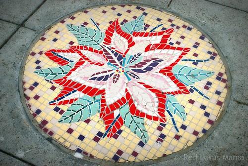 hibiscus sidewalk mosaic medallion