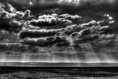 Menacing Clouds At Parkgate (Danger 80) Tags: uk light england bw white black west 20d wales clouds photoshop canon eos view north land marsh rays hdr wirral cs3 parkgate photomatix