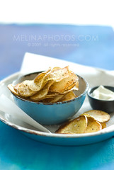 hand cut chips (mwhammer) Tags: blue food white yellow golden potatoes warm soft rustic crispy snack nostalgic layers treat simple mayonnaise saltandpepper melinahammer foodandpropstyling outrageouslytasty