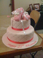 Ballet Cake (ray16j) Tags: birthday pink ballet girl cake shoes 21 21st bow ribbon tier fondant balletshoes cachous sugarcraft