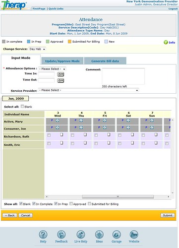 Screenshot of Attendance data.