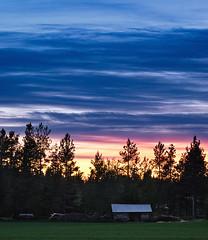 Colors Of The Sky (Joni Niemelä) Tags: sunset summer sky field clouds barn forest finland 50mm intense colorful pentax bluehour aficionados k10d pentaxk10d
