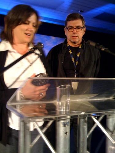 Teresa & her husband, Kent winning the Golden Sheaf for Best of Festival for Norm