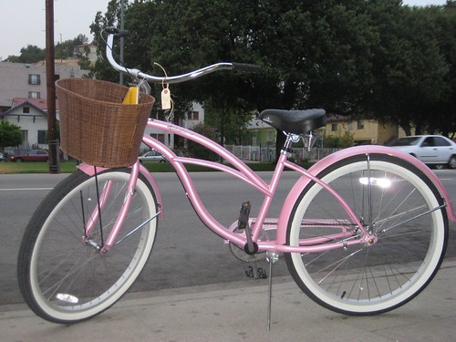 This pink, 3-speed, beach cruiser retails for $249 at Flying Pigeon LA.