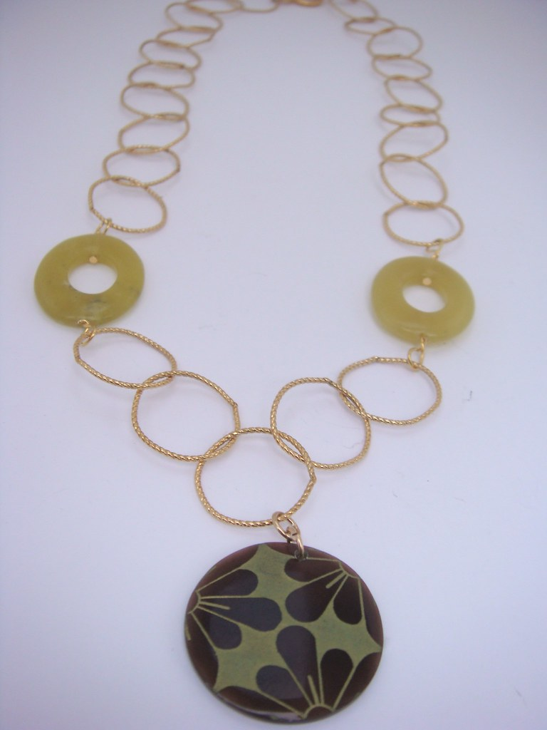 Gold Filled, Jade and Flower Pendant