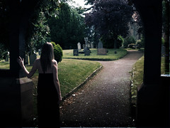 The mourning (Devilllle) Tags: selfportrait church graveyard mourning gravestone widow blackdress