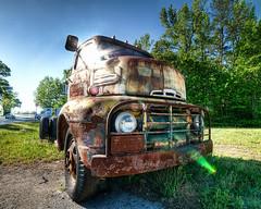 The Old Ford Still Shines (Sky Noir) Tags: old sky ford truck lens noir rusty flare roadside crusty dri hdr coe 1951 skynoir