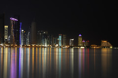 Doha Towers (MJ ♛) Tags: lighting light reflection tower night canon eos shot towers 1855mm efs doha qatar 2010 cornish برج منظر الكورنيش قطر الدوحة أبراج دوحة 40d ليلي