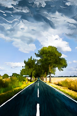 Road in Eiche (solemone) Tags: road trees nature field painting landscape digitalpainting brandenburg cloudysky eiche marzahn hellersdorf wacomintous mixerbrush