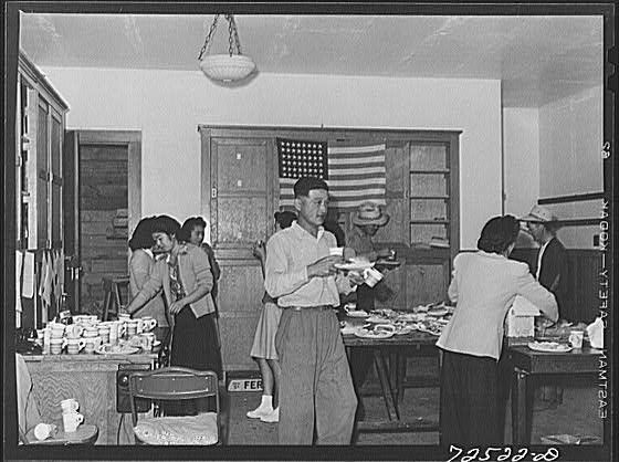 Japanese Americans Gathering A Few Days Before Internment 1942