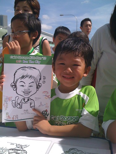 caricature live sketching for Cold Storage Kids Run 2010 - 14