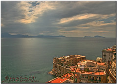 Capri, Sorrento e Donn'Anna (krisdecurtis) Tags: light sea sky italy panorama house seascape building architecture clouds canon