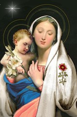 Virgin card (SabraKhan) Tags: christmas vintage catholic antique postcard madonna lilies virginmary babyjesus virginandchild ourlady holyinfant christmasstar jessesrose
