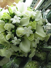Winter white wedding bouquet (LenaeDenson.com) Tags: flowers wedding roses white green berries lily hydrangea callalily weddingflowers bouquets redroses attendants centerpieces stephanotis whitehydrangeas clearvase bridesbouquets greenbuttonmum anitquehydrangeas wrappedbouquets