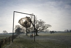 Ever have the feeling you're being watched? #2 (tricky (rick harrison)) Tags: park people sculpture eye art scale rural countryside yorkshire watching large massive hanging sculptures theeye ysp sophieryder