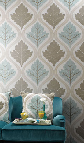 Modern wallpaper: Leaf print + blue + taupe paired with turquoise velvet, by Nina Campbell
