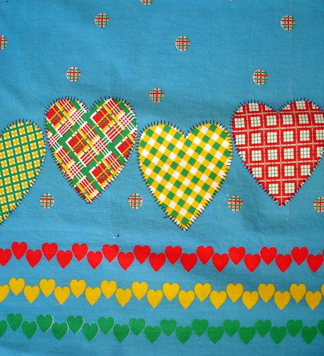 vintage heart border print from yard sale