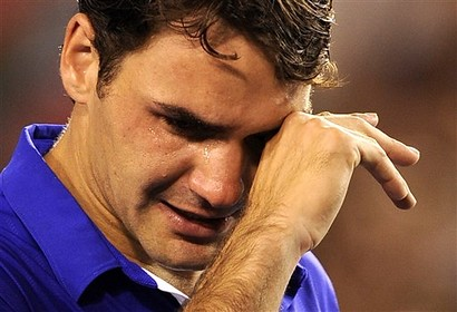 Roger Federer after losing the 2009 Australian Open final