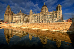 3 Graces (mobilevirgin) Tags: water skyline architecture liverpool canon canal threegraces cunard 1022mm hdr mersey pierhead 30d liverbuilding 3graces