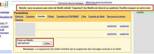 Impossibilité de créer le libéllé Important dans Gmail !