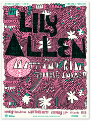 Lily Allen Myspace Secret Show poster (tad carpenter) Tags: new illustration clouds poster typography concert lily hand allen silkscreen type tad drawn carpenter
